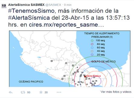 sismo en OAXACA ALERTA PÚBLICA 28 DE ABRIL DE 2015